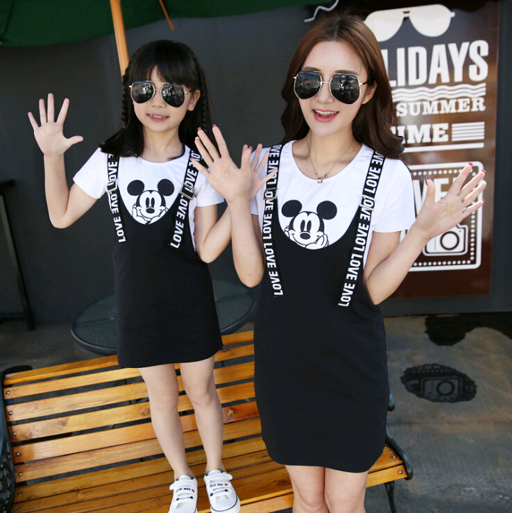 2PCS Cartoon Mother Daughter Dress Family Look Mommy and Me Clothes Mom Mum Mama and Daughter Matching Dresses Clothing Sets2PCS Cartoon Mother Daughter Dress Family Look Mommy and Me Clothes Mom Mum Mama and Daughter Matching Dresses Clothing Sets