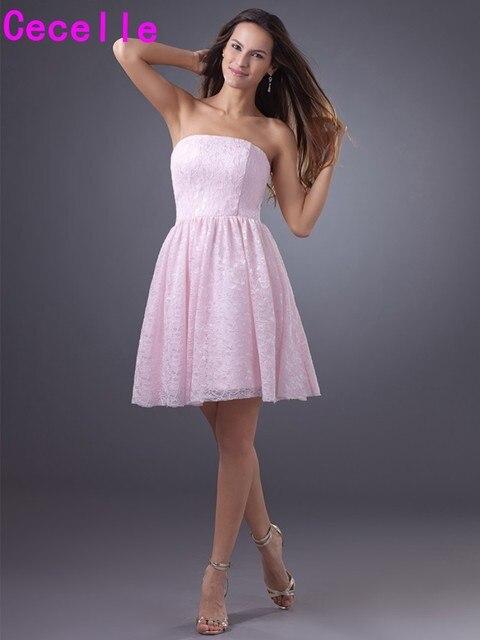 Simple Pink Short Lace Bridesmaid Dresses Strapless Plus Size A ...