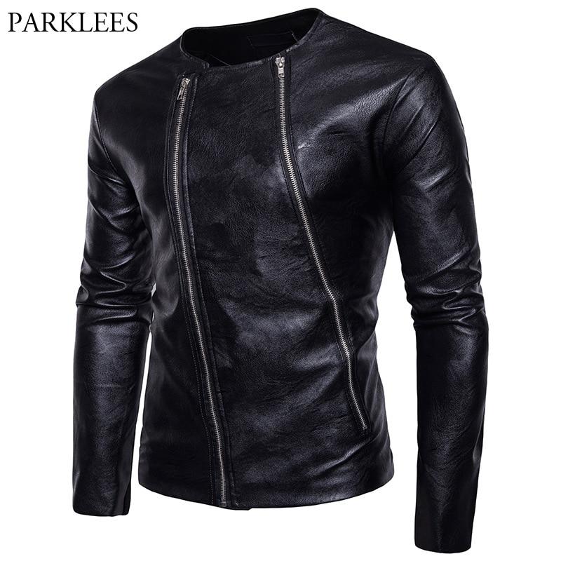 buy double zipper leather jacket men veste cuir homme 2017 winter fashion