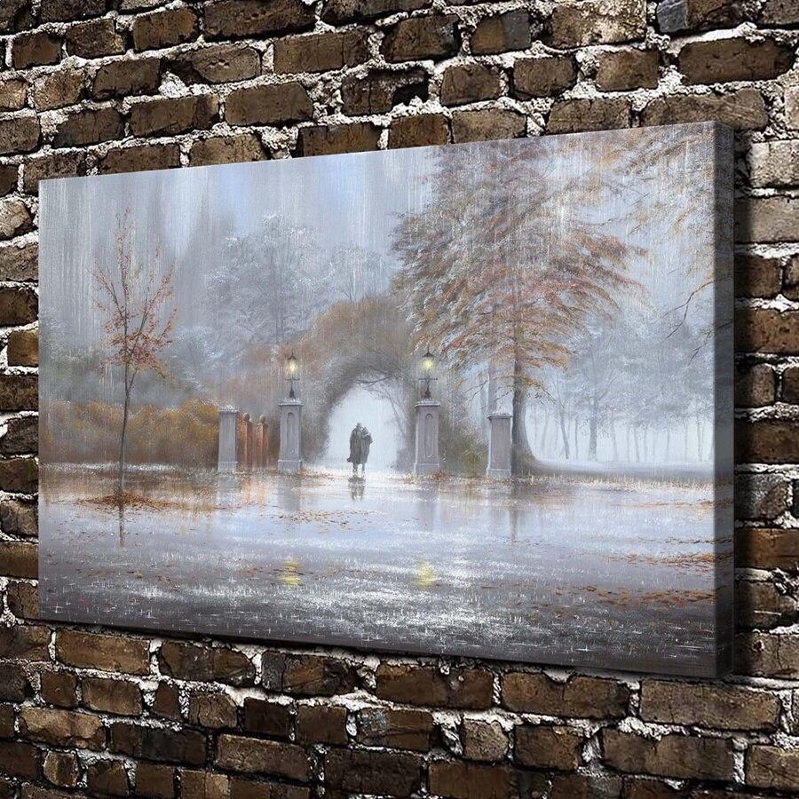Décoration D Intérieur Peinture Murale ᑎ‰10659 marche sous la pluie forêt paysage, impression de