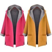 KLV 2019 Топ Женская Модное пальто куртка средней длины большой размеры свободные спереди Открытое пальто для будущих мам 11,19