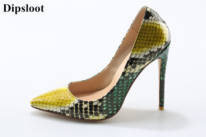 Dipsloot 2018 Snake Printed Sexy Stilettos High Heels Dress Shoes For Ladies Shoes Girls Pointed Toe Party Prom Women Pumps zigzag printed dress for women