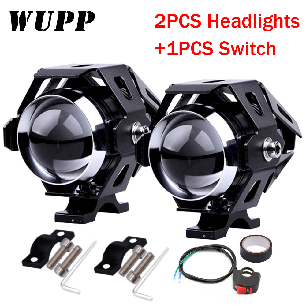 WUPP 1PCS 125 W Motorcycle Headlight Moto Led Lights Motorbike Aluminum Lamp U5 12V Spotlight Accessories Spotlight Fog Light