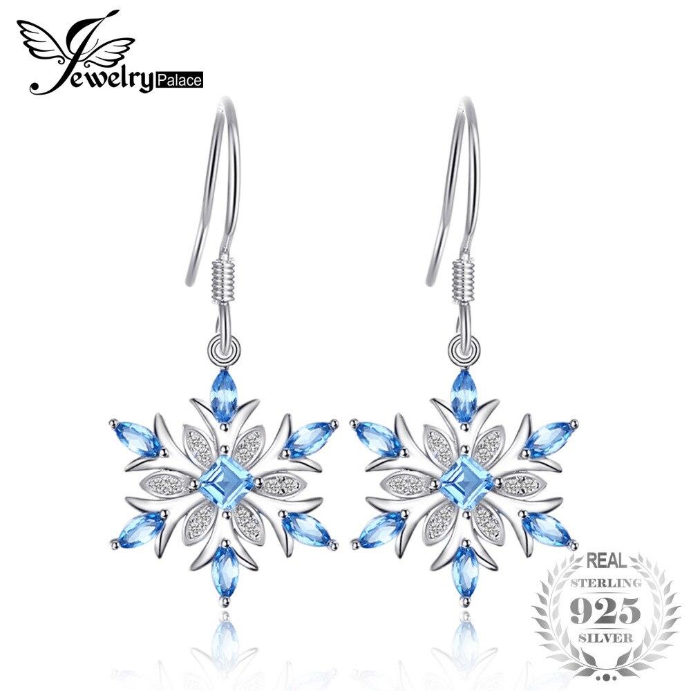 JewelryPalace Promotion 1.54ct Naturel Bleu Topaze Balancent Boucles D'oreilles 100% 925 Sterling Argent Flocon De Neige De Mode Bijoux pour les Femmes