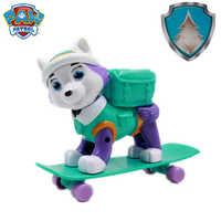 Nova pata patrulha everest cão skate filhotes de neve pode ser deformado patrol patrulla canina pvc boneca brinquedos figura ação modelo brinquedos