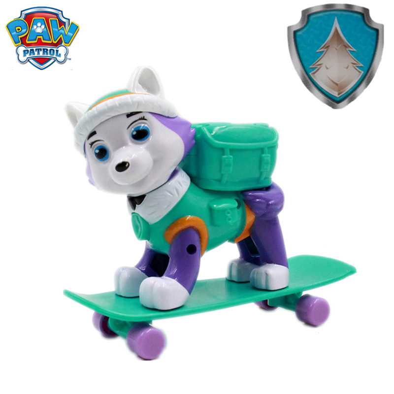 New Paw Patrol Everest Dog Skateboard Puppies Snow Can Be Deformed Patrol Patrulla Canina PVC Doll Toys Action Figure Model Toys