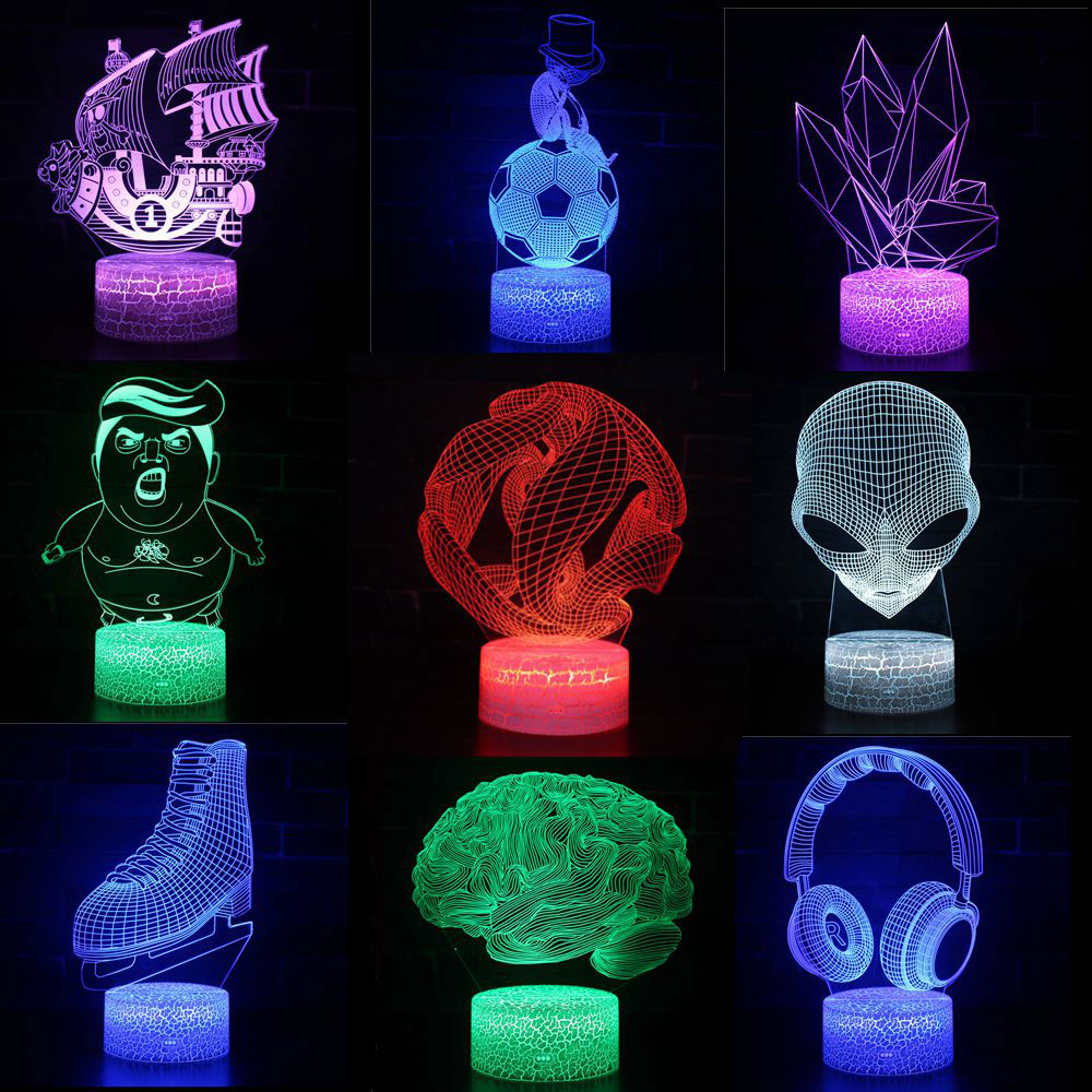 3D LED Night Lights Abstract Circle Spiral Bule 7 Colors Change Hologram Atmosphere Table Lamp For Home Decoration Illusion Gift