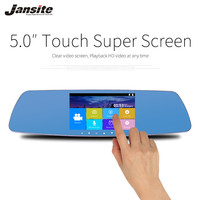Jansite Newest 5 0 Touch Screen Car Camera Super Night Vision Review Mirror Dvr Detector Video