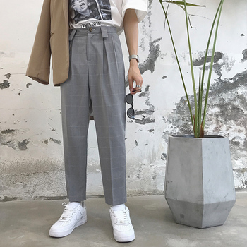 Male Streetwear Hip Hop Straight Pants Loose Harem Trousers Men Black Gray Pink Fashion Casual Plaid Suit Pant фото