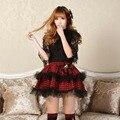 Las mujeres Faldas Micro Alta calidad Lolita Estilo Preppy Falda A Cuadros doble Capa de Falda Corta Punky A Cuadros Rojos de Encaje Pajarita faldas