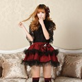 Women Micro Skirts High quality Lolita Preppy Style Plaid Skirt Double Layer Short Skirt Punk Red Plaid Bow Tie Lace skirts