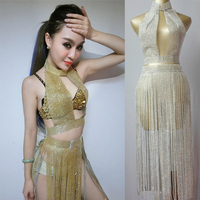 Sexy Stage Costume Women Sexy Jazz Flash Drill Tassel Top Skirt Celebrity Dresses Singer Clothes Rave Outfit Stage Wear DN2556