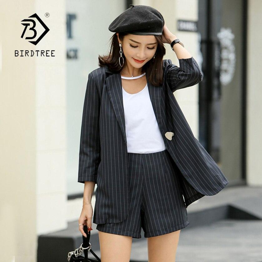 Classique Rayé Blazeramp; Costumes Hots Haute Black Office Split Nouvelle Femmes Retour Single Arrivée Shorts Élégant S86516f Lady Bouton De Taille VGUzMpqS