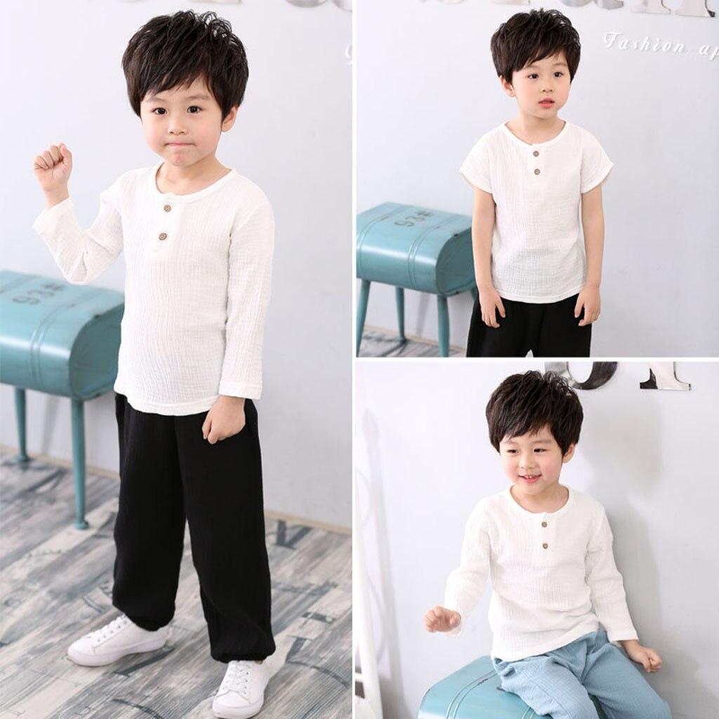 MUQGEW Children Tops T-Shirt Autumn Baby-Boy-Girl Long-Pants Boy Cotton Solid 2pcs Tee