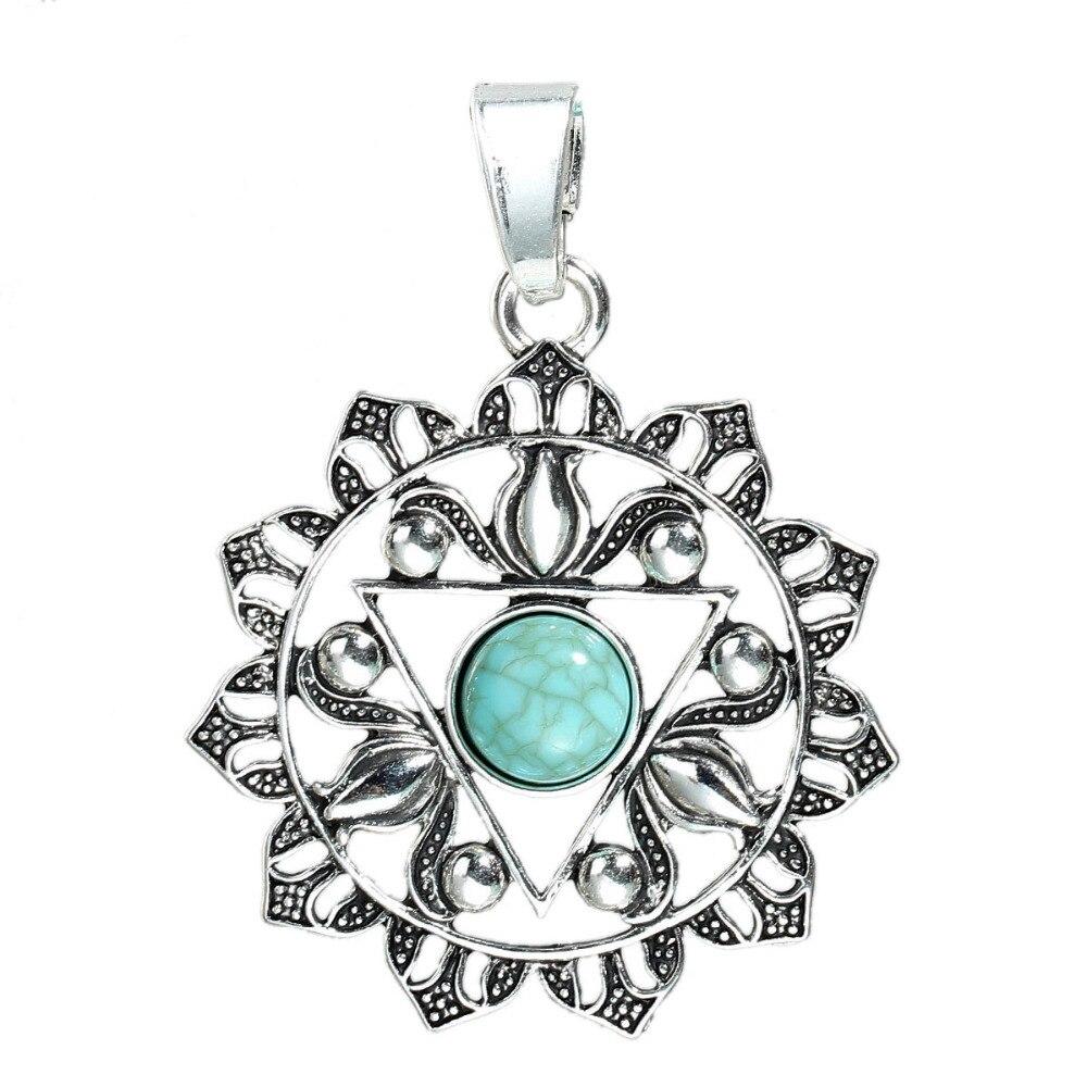 DoreenBeads Zinc Based Alloy Antique Silver Yoga Healing Pendants Flower Green Sun Hollow DIY Components 67mm x 50mm(2), 2 PCs