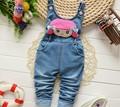 BibiCola fashion spring autumn kids jumpsuit Baby girls cartoon denim bib pants children trousers for 1-4 years old