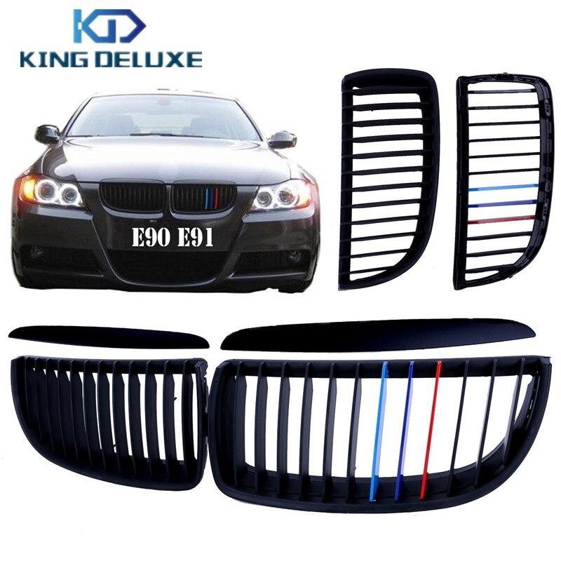 For BMW E90 E91 3-Series 325i 328i 330i 335i Front Grille Kidney Grill Lattice in Matte Black Mix Colored #P19 neri karra 0579 3 01 90 3 01 91