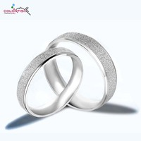 Anel Engagement And Wedding Rings Set For Women And Men 18k Gold Plated Frosted Couple Ring