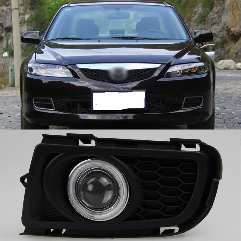 Ownsun COB Angel Eye Rings Projector Lens with 3000K Halogen Lamp Source Black Fog Lights Bumper Cover For Mazda 6 2006-2008 ownsun cob angel eye rings projector lens with 3000k halogen lamp source black fog lights bumper cover for skoda fabia 2012 2014