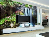 Custom 3d Mural Wallpaper Waterfall Treasure Basin Waterfront TV Wall 3d Stereoscopic Wallpaper Living Rooms
