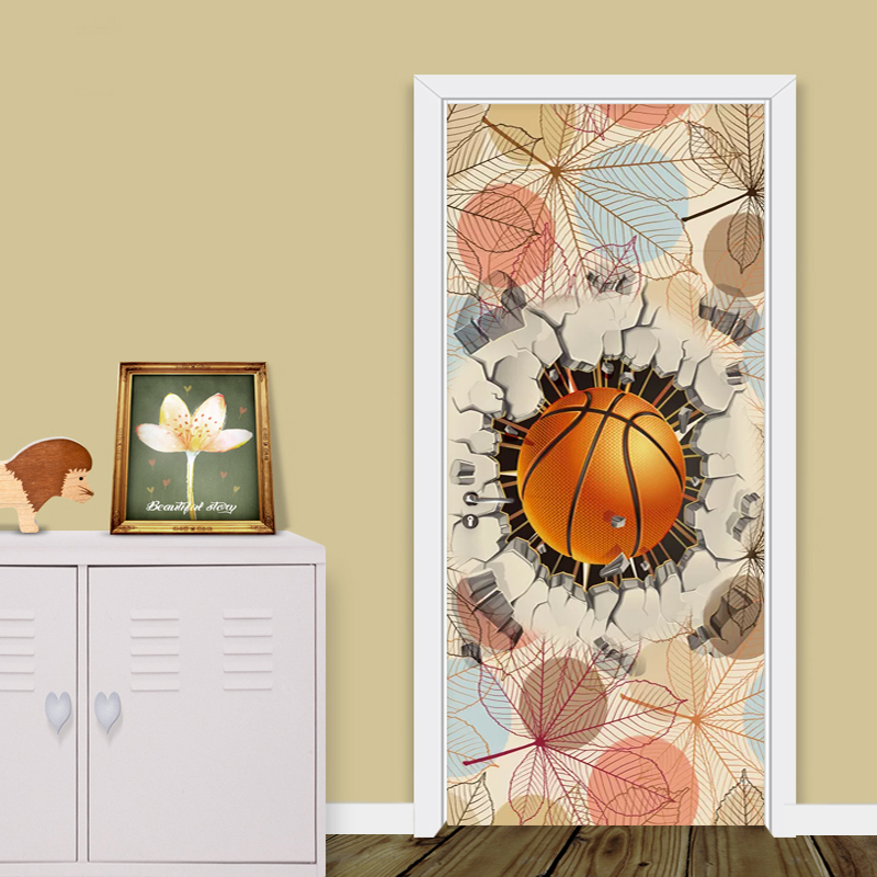 Photo Wallpaper 3D Creative Basketball Leaf Background Door Stickers Cartoon Children Bedroom Wall Sticker 3D PVC Self-Adhesive