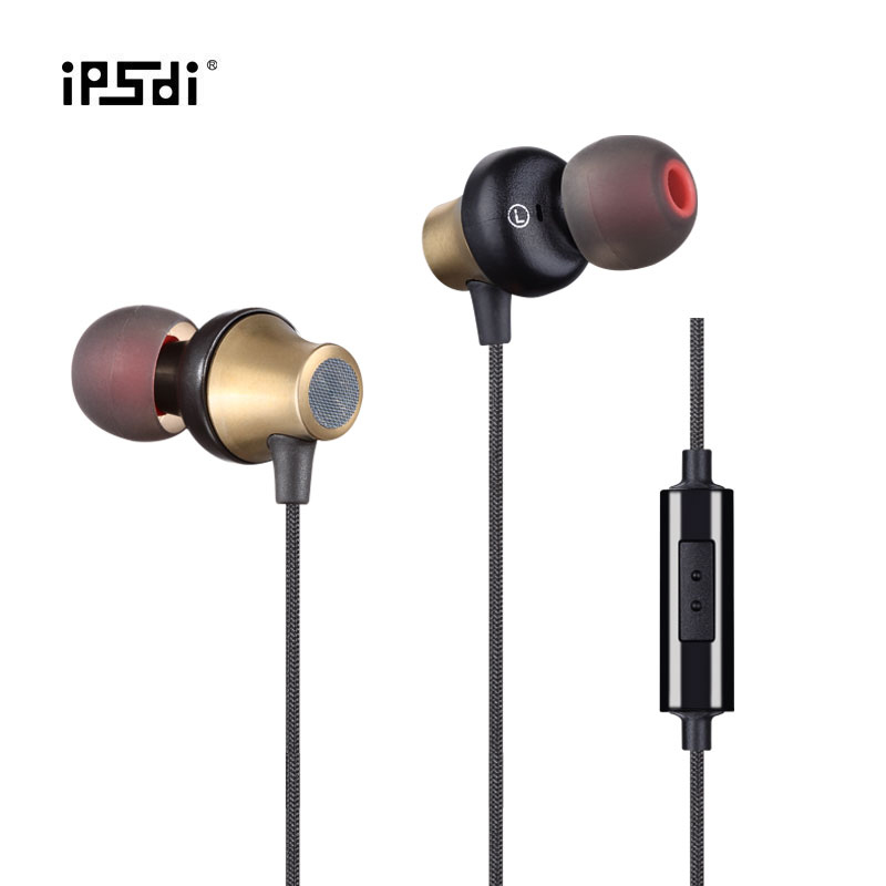 Ipsdi In-ear Super Clear Metal Monitor Earphone Noise Isolating Sport Gameing Earphone with Micphone for Iphone Smartphone Pc
