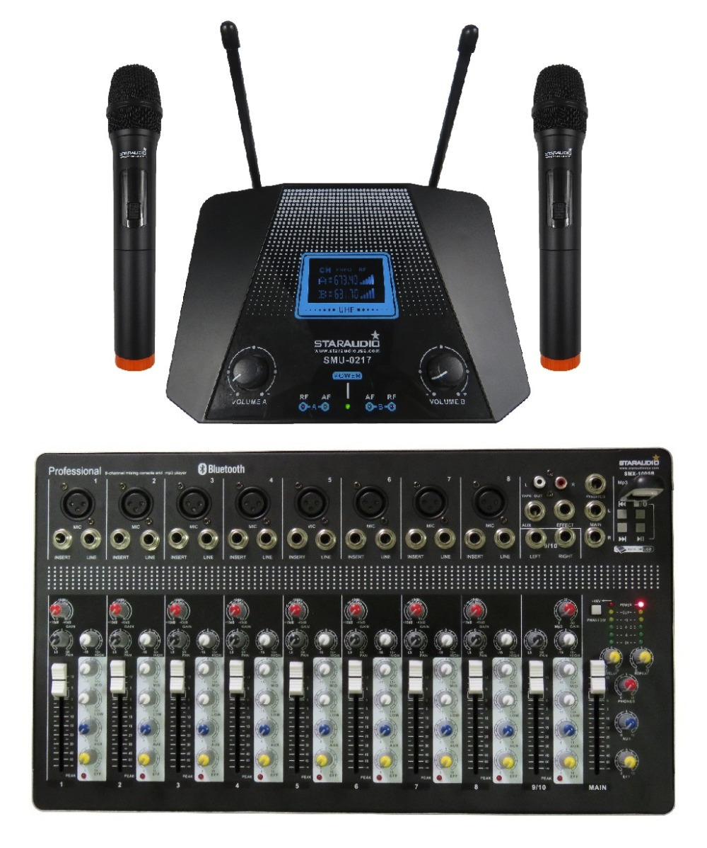 STARAUDIO Pro 10CH DJ Stage Club Karaoke Powered USB Bluetooth MP3 Mixer W/ 2CH UHF Handheld Microphones  SMX 1000B|bluetooth power|karaoke usb|power stage - title=