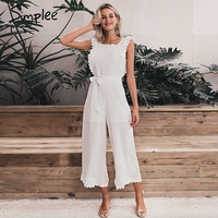 Simplee Cotton linen ruffled embroidery women jumpsuit Elegant hollow out sashes long jumpsuit romper Casual ladies overalls
