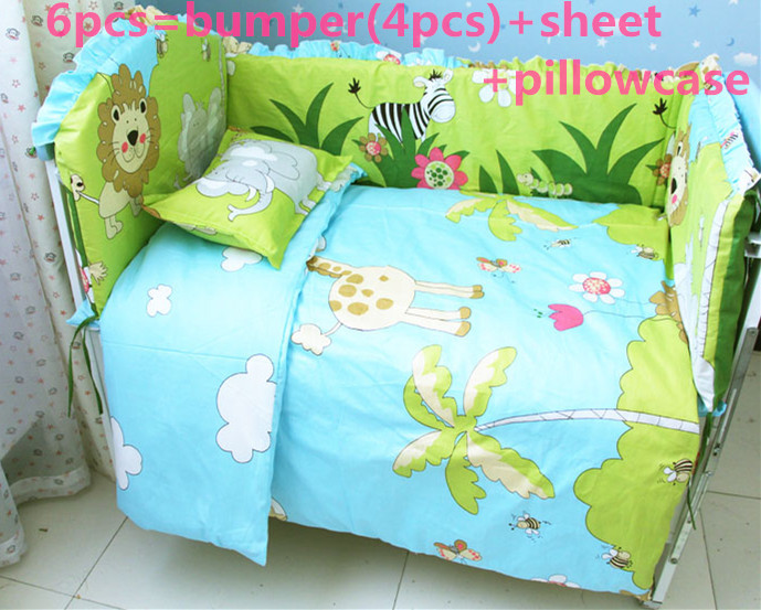 Promotion! 6/7PCS baby bed set Happy cartoon Cute Baby Crib bedding set Embroidered,Duvet Cover,120*60/120*70cm