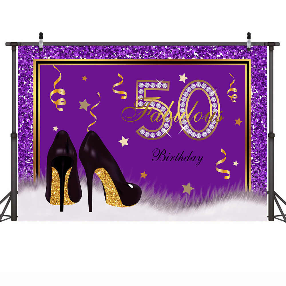 Mehofoto 50th aniversário pano de fundo roxo alto inferno fabuloso cinqüenta fotografia fundo 50th festa de aniversário banner backdrops