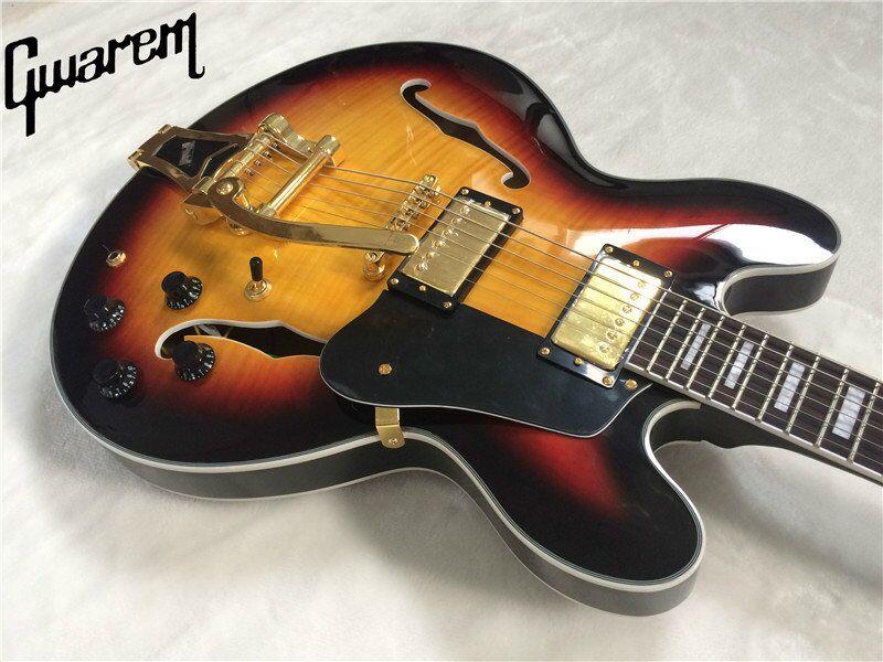 Electric guitar 2017 new Gwarem lp custom jazz ES-33-5/hollow guitar/with big s-b-y tremolo/guitar in china electric guitar 2017 new lp custom oem brand left hand electric guitar guitar in china