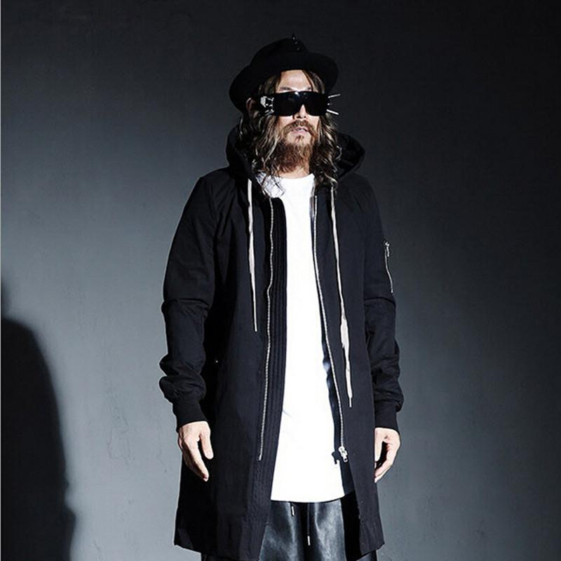 Online Shop PUNKOOL British Warm Gothic Trench Men Pea Coat Hooded ...