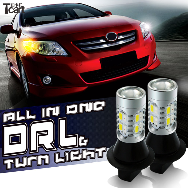 Tcart 2pcs Car LED DRL Daytime Running Light Turn Signals all in one PY21W BAU15S 1156 Auto LED Bulbs For Chevrolet Captiva 2015