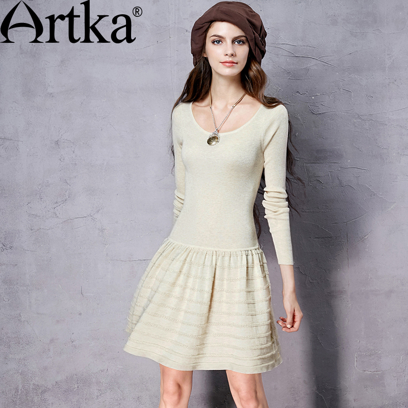 ARTKA Women s Autumn New 3 Colors Slim Fit Knitted Dress Vinatge O Neck Long Sleeve