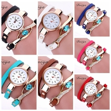 Women Luxury Gold Eye Gemstone Dress Watches Women Gold Bracelet