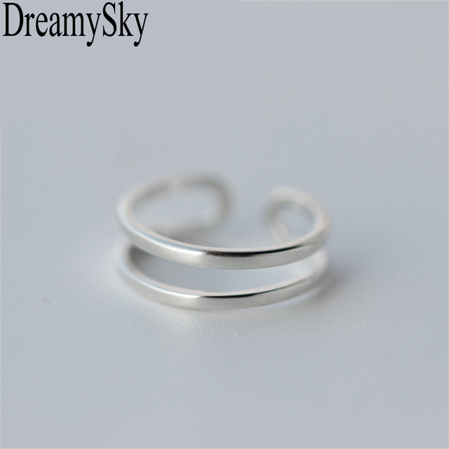 DreamySky 100% Real 925 Sterling Silver Double layer Rings For Women Adjustable Wedding Ring Fashion sterling-silver-jewelry