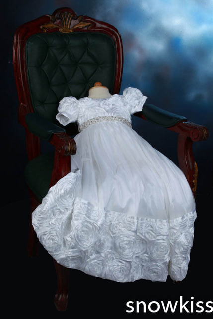 2016 White/Ivory Crystals Heirloom Dedication Christening Gown Blessing Dress with Bonnet  Baby Baptism Robe For Boys Girls