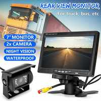 7 TFT LCD Wired HD Car Monitor Console Display 2 Cameras Reverse Back up Camera Parking System for Truck Car Rear View Monitor