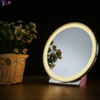 LED Light 3 Colors Makeup Mirror Touch Screen Table Illuminated Cosmetic Lamp Portable Round Mirrors With Battery Rechargeable