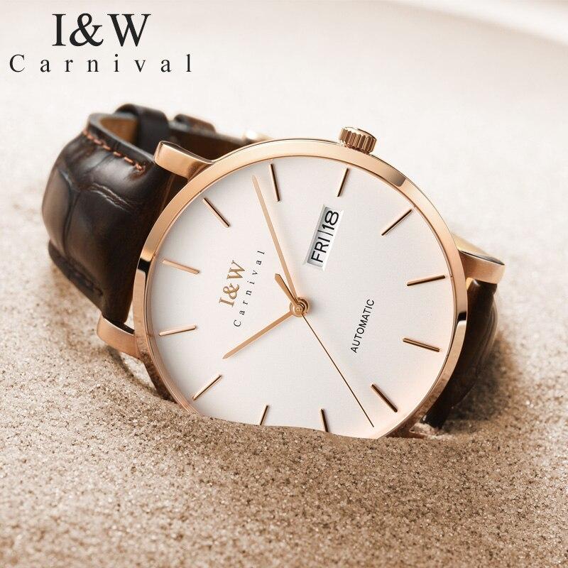 I&W 2018 Fashion Automatic Watche Men Carnival Mens Mechanical Watches Leather Strap Ultra-Thin Xfcs Waterproof Clock erkek saat
