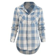 female Loose Blouse Women Tops Checkered plaid College