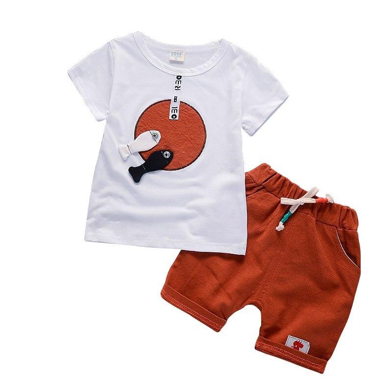 Прохладный для маленьких мальчиков милый мультфильм рыбы шаблон футболка с короткими рукавами Шорты для женщин Мотобрюки 2 шт. комплект оде...