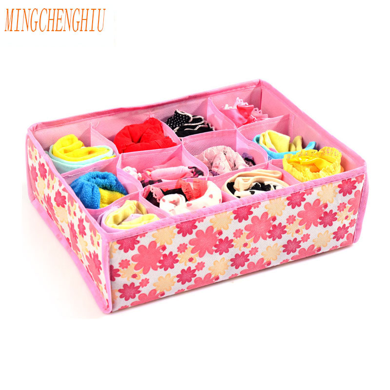 New Case 12 High-grade Fabric Bag Non-woven Closed Storage Box Socks Underwear Bra Assembly Organizer Storage Inkjet Cloth