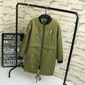 Bird Badge Women Parkas 2016 Winter Casual Plus Size 3XL Warm Thick Loose Long Parka Coats Army Green Black KK2105