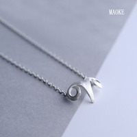 S925 Sterling Silver Horn Cute Forest Extension Chain Short Necklace for Women's Fashion Gifts