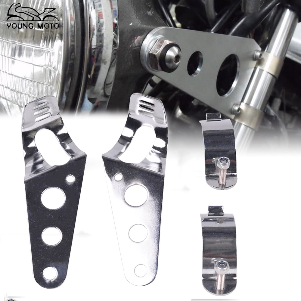 38-51mm Motorcycle Headlight Lamp Bracket Mount Fork Chrome Silver for Chopper Bobber Street Bike Cafe Racer Harley Davidson