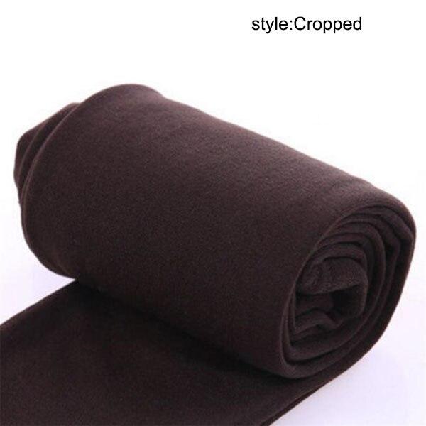Осенне-зимние модные женские теплые флисовые зимние тянущиеся леггинсы с теплой флисовой подкладкой, тонкие теплые штаны BFJ55 - Цвет: Coffee Cropped