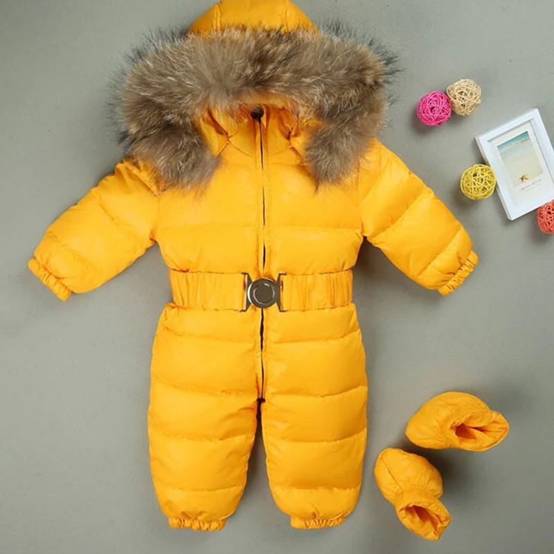 Siamese down jacket newborn baby girls boyswhite duck down 1-3 years old file thick down feathers winter clothing russia winter boys girls down jacket boy girl warm thick duck down