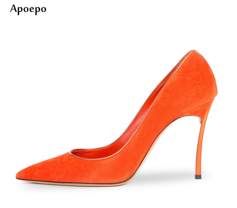New 10CM Heels Woman Shoes 2018 Sexy Pointed Toe Slip-on Pumps Big Size Thin Heels Office Lady Shoes summer bling thin heels pumps pointed toe fashion sexy high heels boots 2016 new big size 41 42 43 pumps 20161217