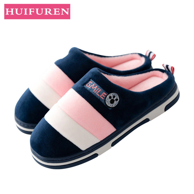 2019 Winter Couples Cotton Slippers Handbag With Indoor Warm Autumn Antiskid Lovely Home Mixed Color Man And Woman(China)
